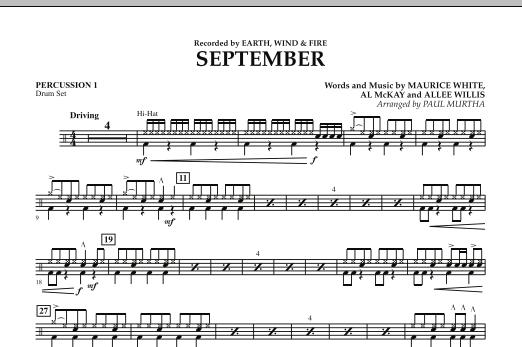 September (arr. Paul Murtha) - Percussion 1 (Concert Band)