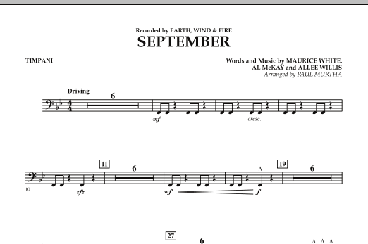 September (arr. Paul Murtha) - Timpani (Concert Band)