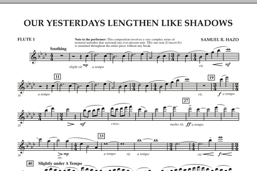 Our Yesterdays Lengthen Like Shadows - Flute 1 (Concert Band)
