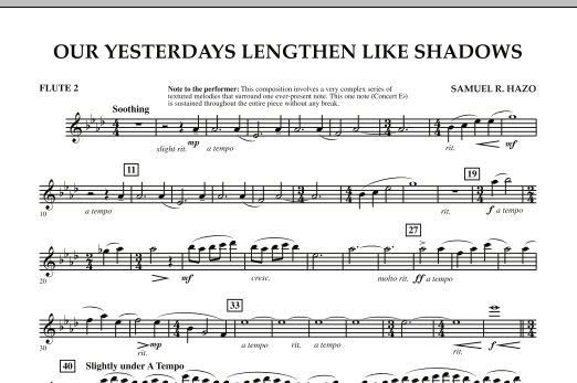 Our Yesterdays Lengthen Like Shadows - Flute 2 (Concert Band)