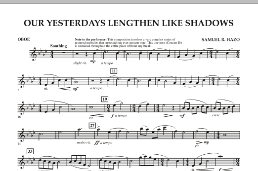 Our Yesterdays Lengthen Like Shadows - Oboe (Concert Band)