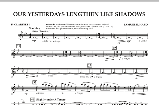 Our Yesterdays Lengthen Like Shadows - Bb Clarinet 1 (Concert Band)