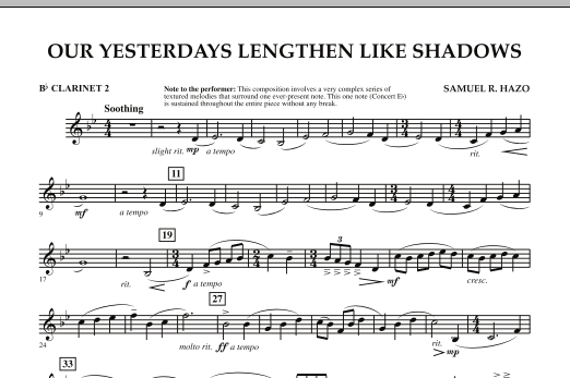 Our Yesterdays Lengthen Like Shadows - Bb Clarinet 2 (Concert Band)