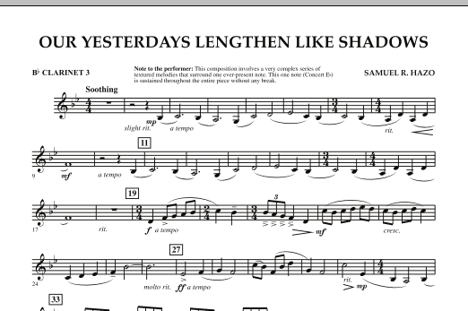 Our Yesterdays Lengthen Like Shadows - Bb Clarinet 3 (Concert Band)