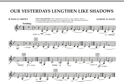 Our Yesterdays Lengthen Like Shadows - Bb Bass Clarinet (Concert Band)