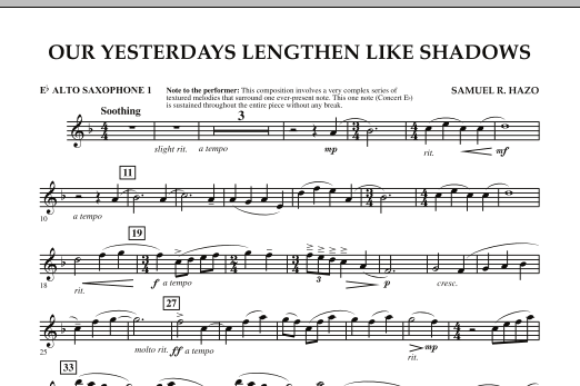Our Yesterdays Lengthen Like Shadows - Eb Alto Saxophone 1 (Concert Band)