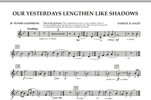 Our Yesterdays Lengthen Like Shadows - Bb Tenor Saxophone (Concert Band)