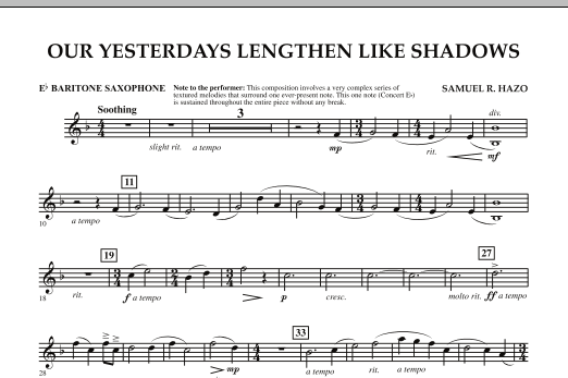 Our Yesterdays Lengthen Like Shadows - Eb Baritone Saxophone (Concert Band)