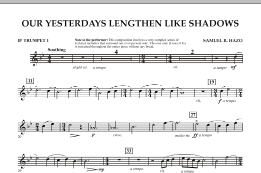 Our Yesterdays Lengthen Like Shadows - Bb Trumpet 1 (Concert Band)