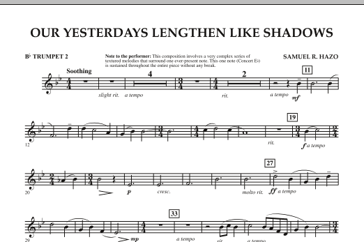 Our Yesterdays Lengthen Like Shadows - Bb Trumpet 2 (Concert Band)