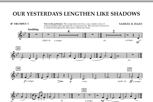 Our Yesterdays Lengthen Like Shadows - Bb Trumpet 3 (Concert Band)