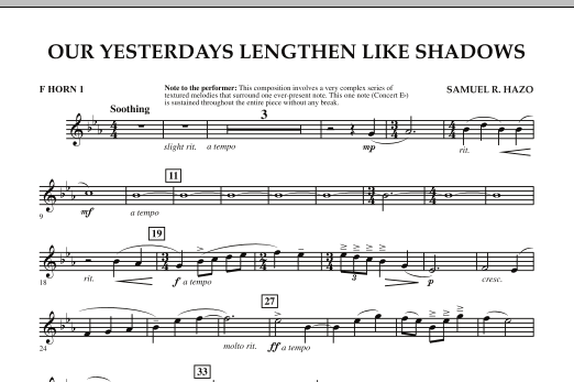 Our Yesterdays Lengthen Like Shadows - F Horn 1 (Concert Band)