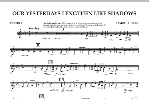 Our Yesterdays Lengthen Like Shadows - F Horn 2 (Concert Band)