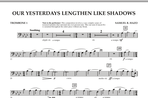 Our Yesterdays Lengthen Like Shadows - Trombone 1 (Concert Band)