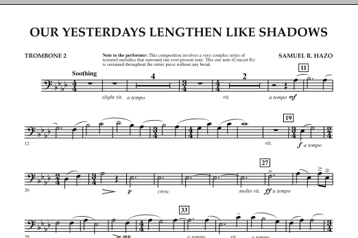 Our Yesterdays Lengthen Like Shadows - Trombone 2 (Concert Band)