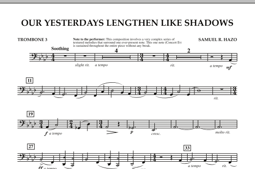 Our Yesterdays Lengthen Like Shadows - Trombone 3 (Concert Band)