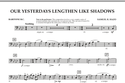 Our Yesterdays Lengthen Like Shadows - Baritone B.C. (Concert Band)