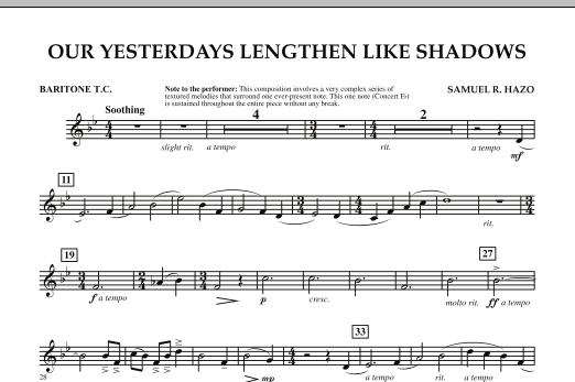 Our Yesterdays Lengthen Like Shadows - Baritone T.C. (Concert Band)