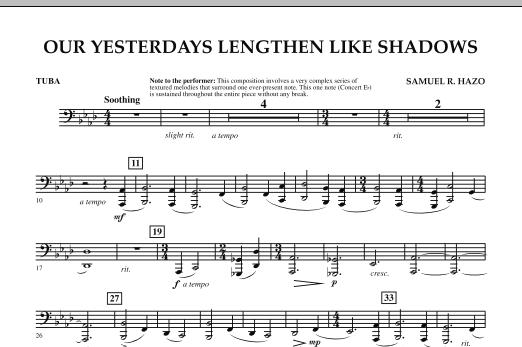Our Yesterdays Lengthen Like Shadows - Tuba (Concert Band)