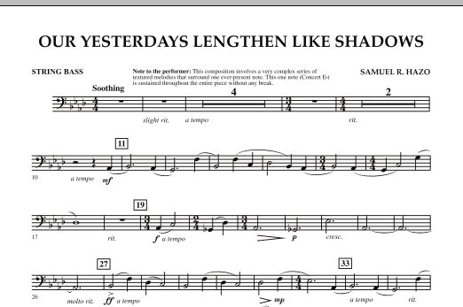 Our Yesterdays Lengthen Like Shadows - String Bass (Concert Band)