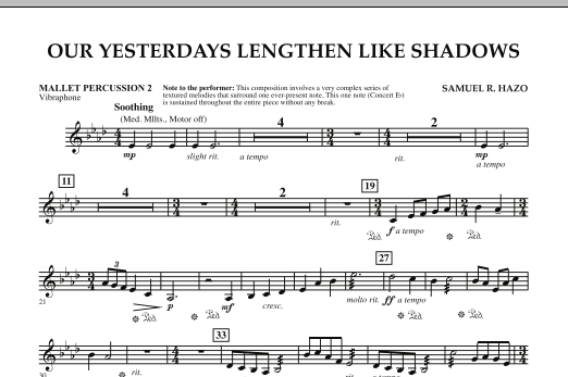 Our Yesterdays Lengthen Like Shadows - Mallet Percussion 2 (Concert Band)