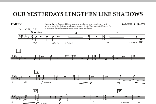 Our Yesterdays Lengthen Like Shadows - Timpani (Concert Band)