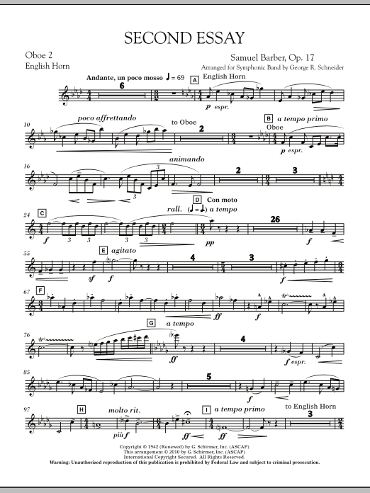 Second Essay - Oboe 2 (English Horn) (Concert Band)