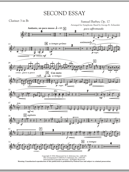 Second Essay - Bb Clarinet 3 (Concert Band)