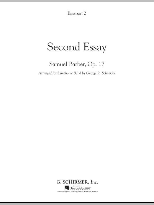 Second Essay - Bassoon 2 (Concert Band)