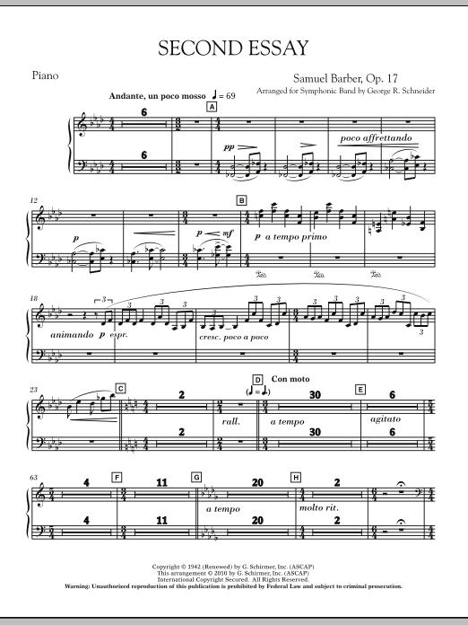 Second Essay - Piano (Concert Band)