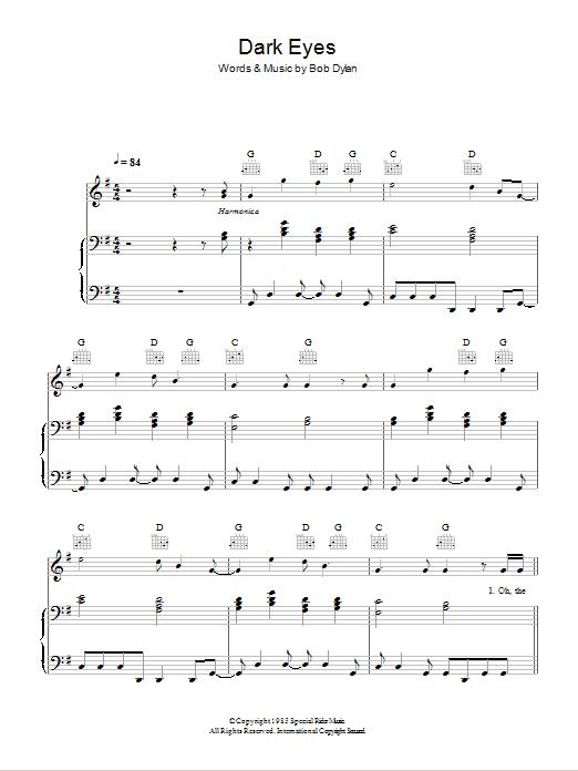 Dark Eyes sheet music by Bob Dylan (Piano, Vocal & Guitar ...