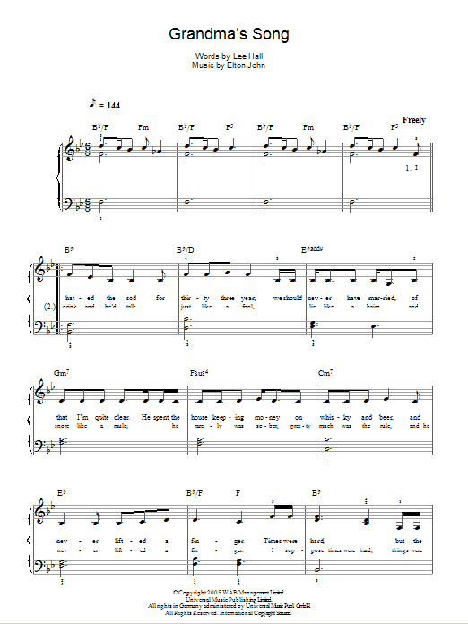 Grandma's Song (from Billy Elliot: The Musical) Sheet Music
