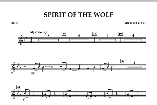 Spirit Of The Wolf - Oboe (Concert Band)