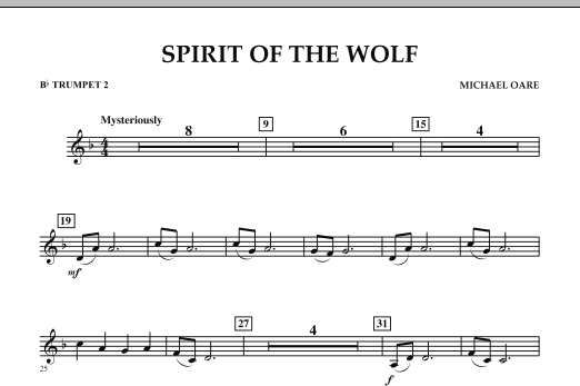 Spirit Of The Wolf - Bb Trumpet 2 (Concert Band)
