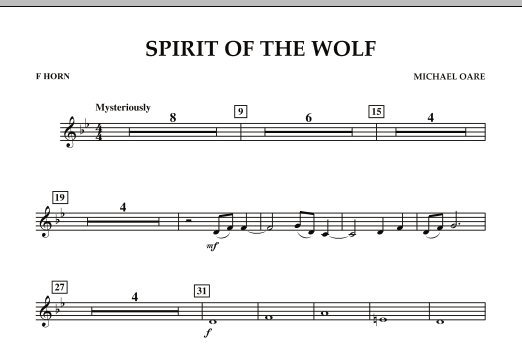 Spirit Of The Wolf - F Horn (Concert Band)