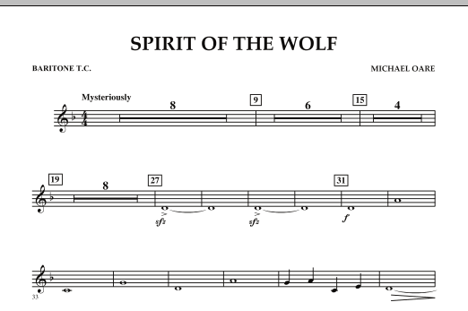 Spirit Of The Wolf - Baritone T.C. (Concert Band)