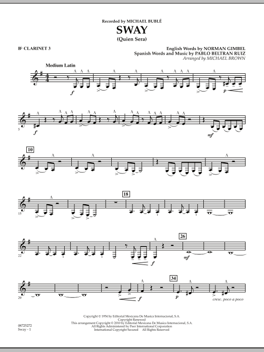 Sway (Quien Sera) - Bb Clarinet 3 (Concert Band)