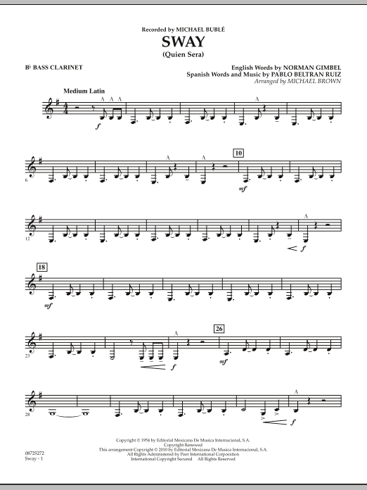Sway (Quien Sera) - Bb Bass Clarinet (Concert Band)