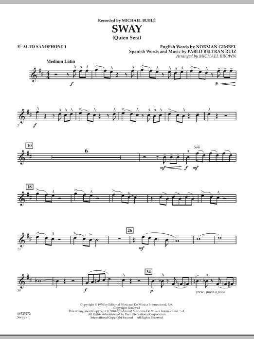 Sway (Quien Sera) - Eb Alto Saxophone 1 (Concert Band)