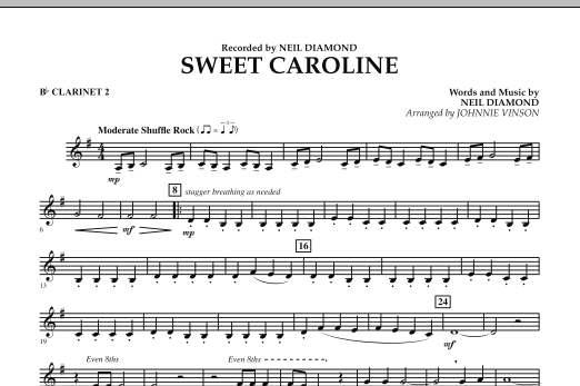 Sweet Caroline - Bb Clarinet 2 (Concert Band)