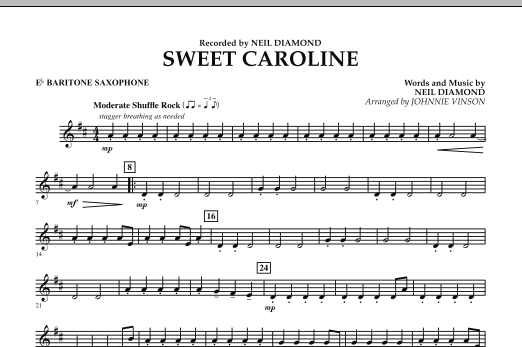 Sweet Caroline - Eb Baritone Saxophone (Concert Band)