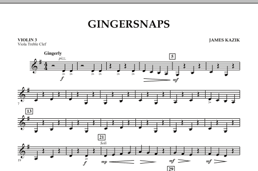 page one of Gingersnaps - Violin 3 (Viola Treble Clef)ASALTTEXT