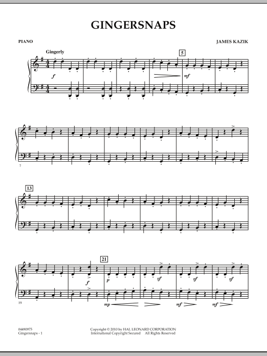 page one of Gingersnaps - PianoASALTTEXT