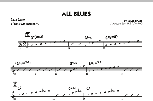 All Blues - C Solo Sheet (Jazz Ensemble)