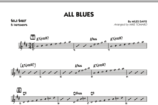All Blues - Bb Solo Sheet (Jazz Ensemble)