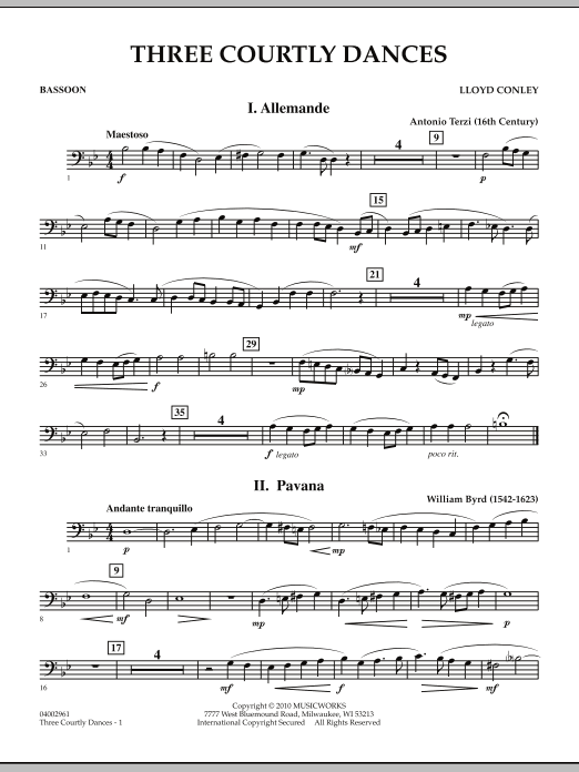 Three Courtly Dances - Bassoon (Concert Band)