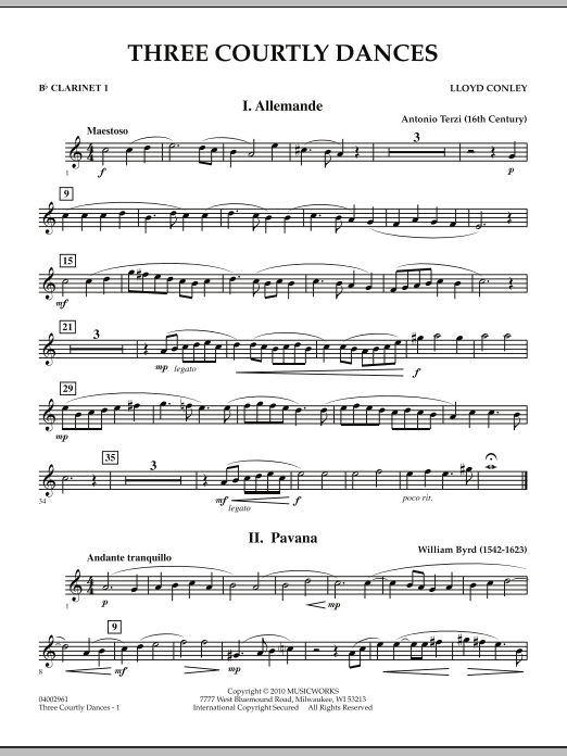 Three Courtly Dances - Bb Clarinet 1 (Concert Band)