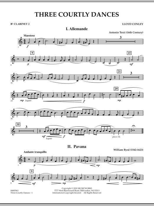 Three Courtly Dances - Bb Clarinet 2 (Concert Band)
