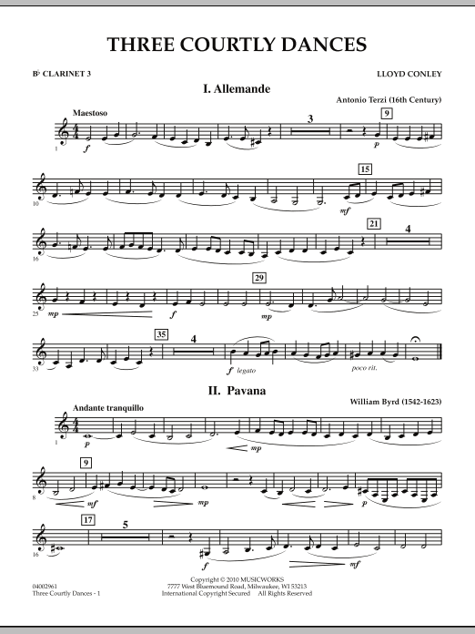 Three Courtly Dances - Bb Clarinet 3 (Concert Band)