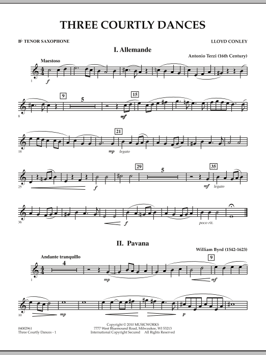 Three Courtly Dances - Bb Tenor Saxophone (Concert Band)